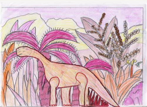dinosaurio en paisaje rosado-terroso1