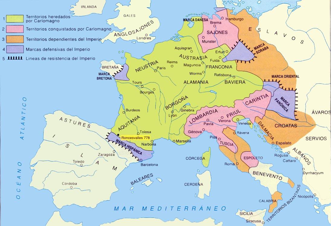 Resultado de imagen de mapa imperio carolingio